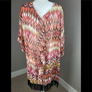 LULAROE COLORFUL TRIBAL FRINGE PONCHO COVERUP